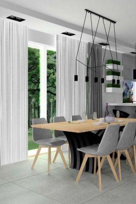 salon z kuchnia i jadalnią nowoczesne wnętrze