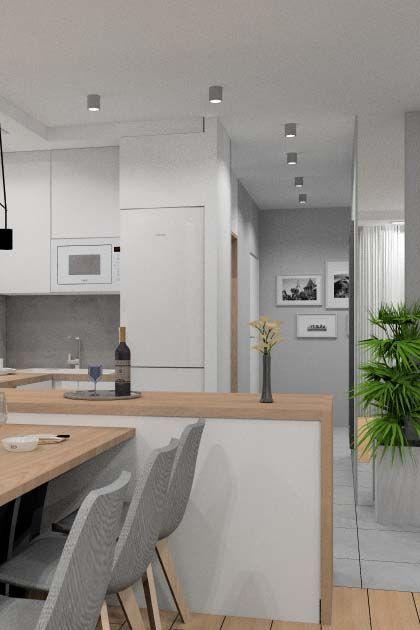 Aranżacja salonu z kuchnią i hol