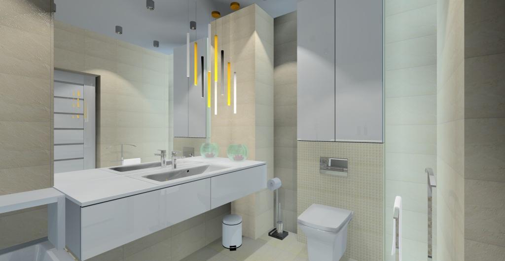 projekt nowoczesnej łazienk w kolorach ciepłych, beż, biały,