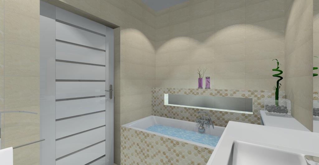 nowoczesna łazienka, projekt  łazienki w ciepłych kolorach biały, beż, płki nad wanną w łazience, wanna zabudowa w łazience
