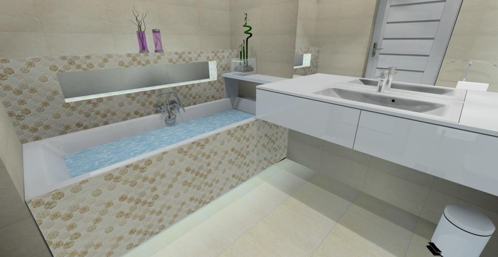 Projekt nowoczesnej łazienki, aranżacja łazienka w ciepłych kolorach – beż, biały, szafka pod umywalkę biała, umywalka wpuszczana