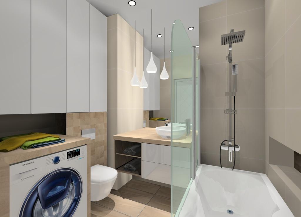 łazienka w ciepłych barwach, łazienka w drewnie i bieli