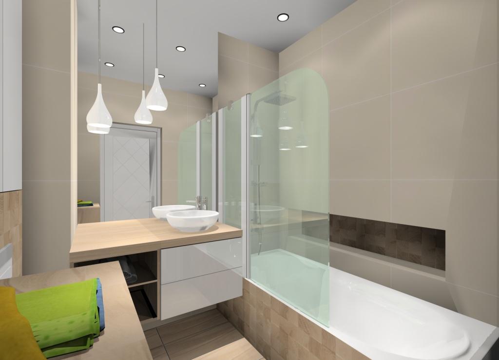 Nowoczesna łazienka w ciepłych kolorach, łazienka biało szara w drewnie