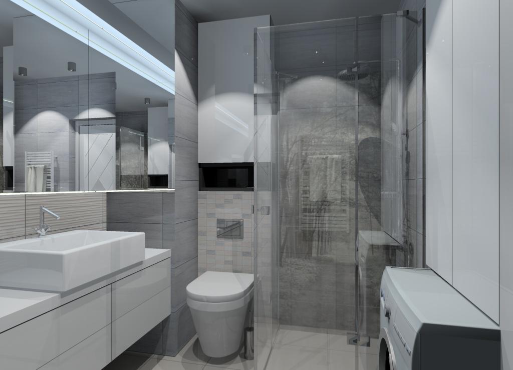 aranżacja małej łazienki, prysznic w łazience, fototapeta