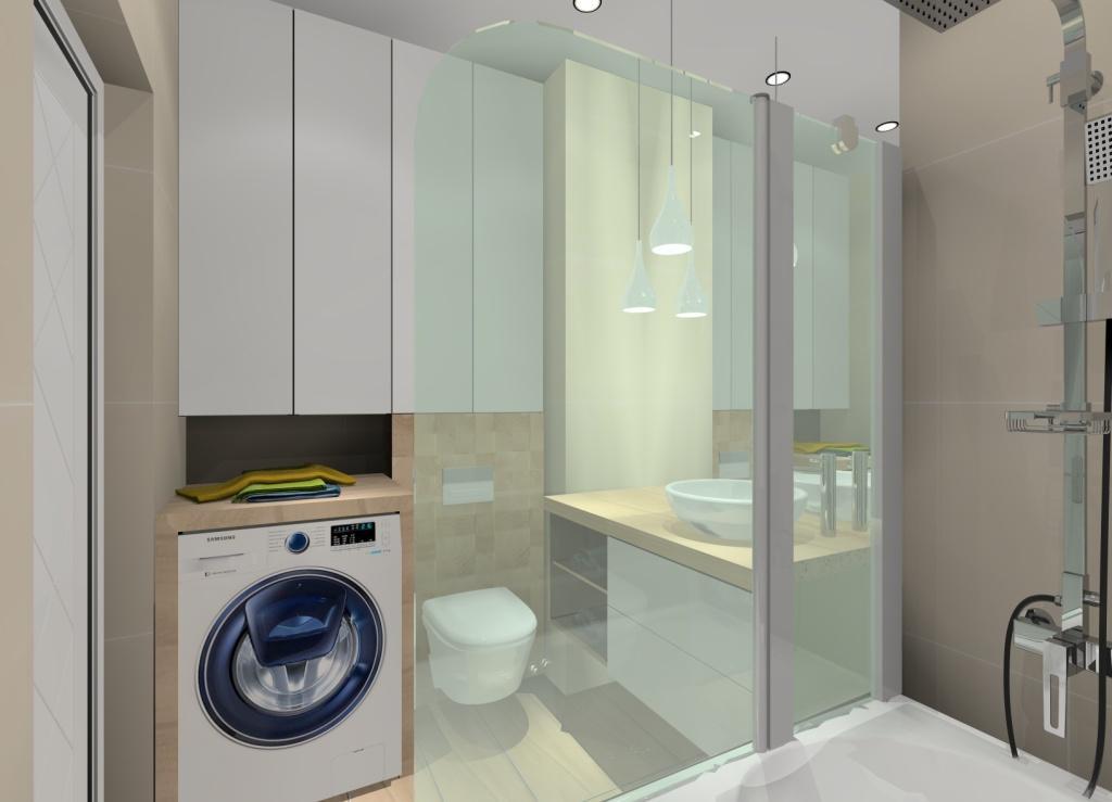projekt łazienki w ciepłych barwach, kolorach, wanna z parawanem w łazience