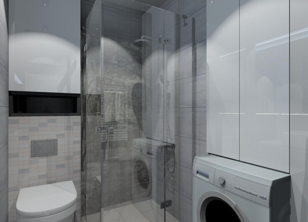 łazienka w bloku, mała łazienka, projekt łazienki z prysznicem