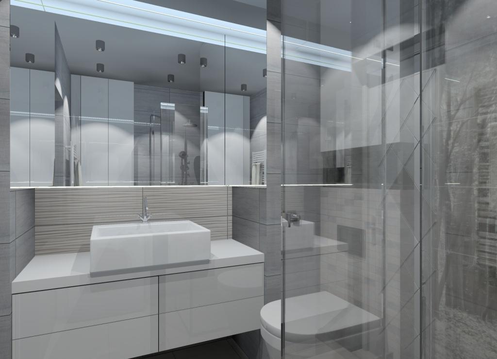 bardzo mała łazienka, duże lustro Led w łazience