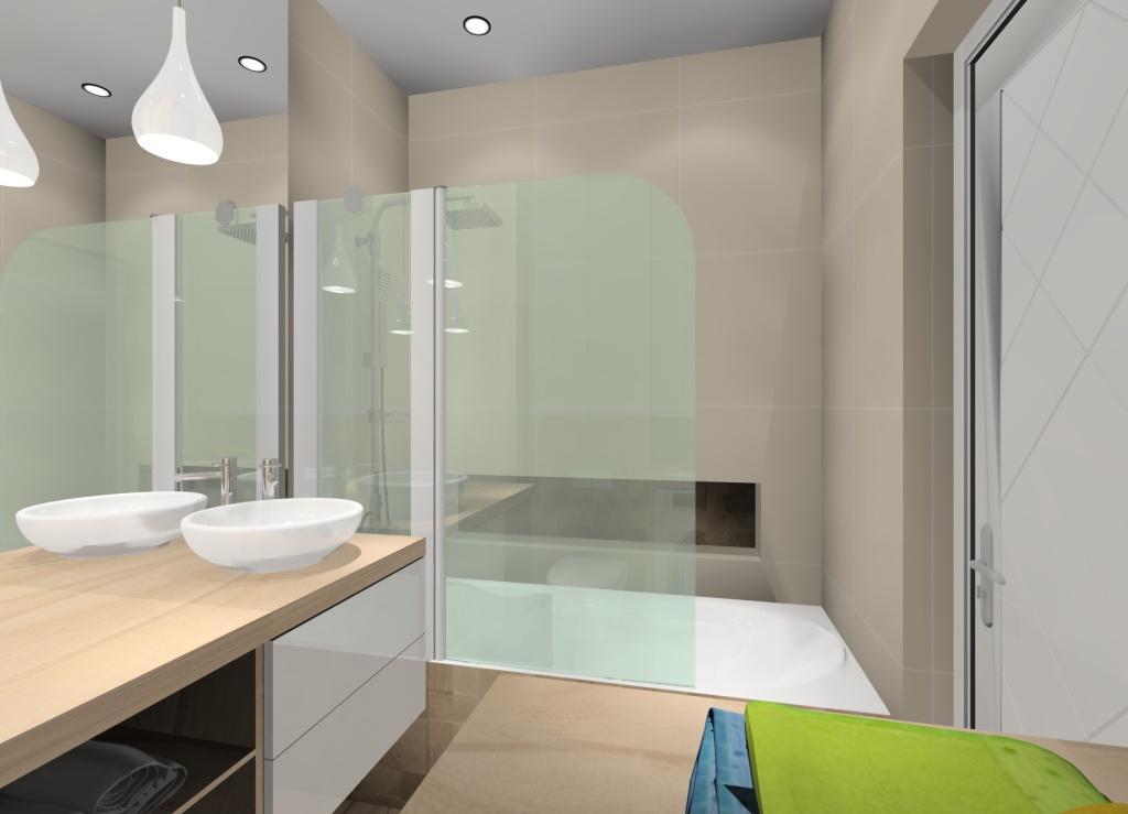 Aranżacja łazienki w ciepłych kolorach, biała łazienka z drewniana podłogą