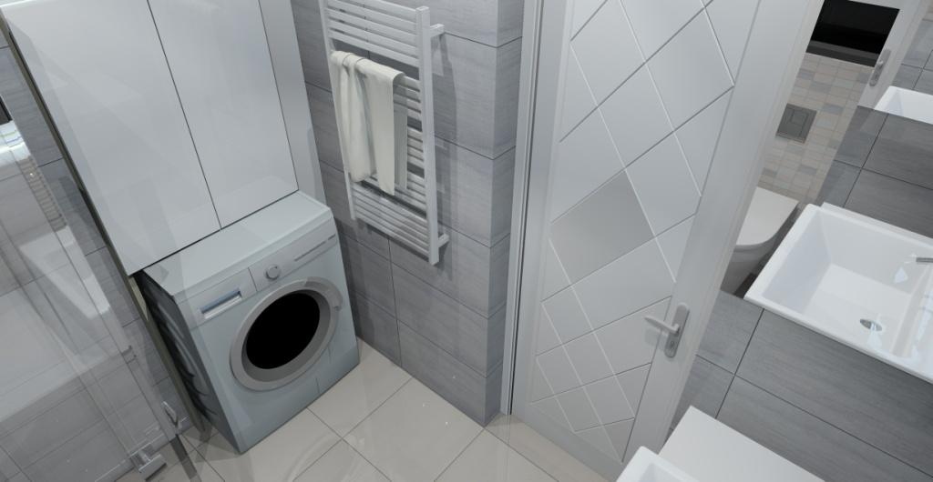 łązienka w bloku z prysznicem, biało szara łazienka