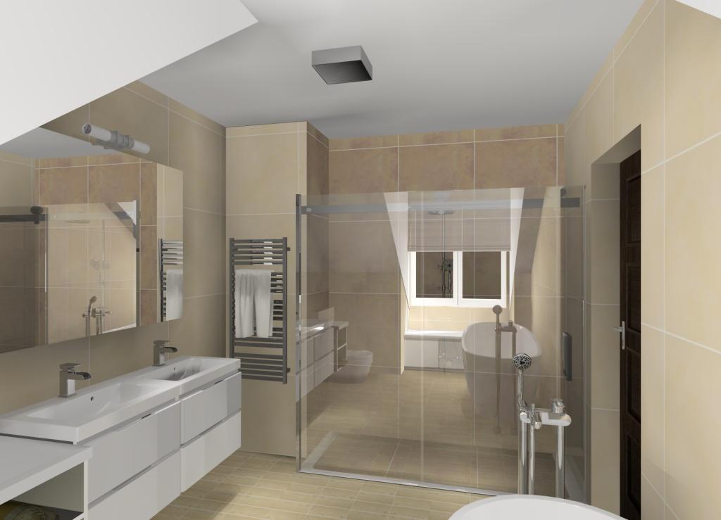 Aranżacja łazienki na poddaszu, prysznic w łazience