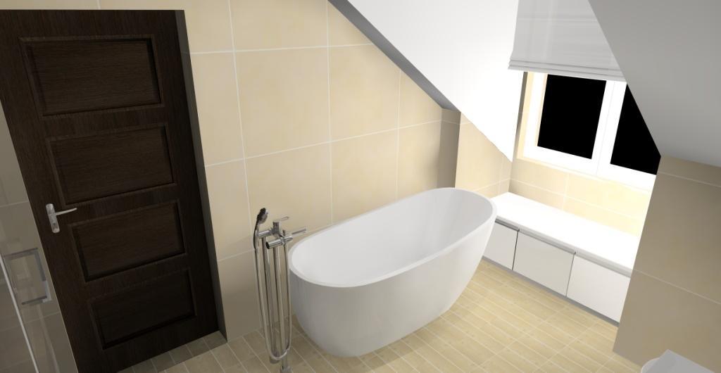Projekt łazienki na poddaszu z wanną wolnostojącą