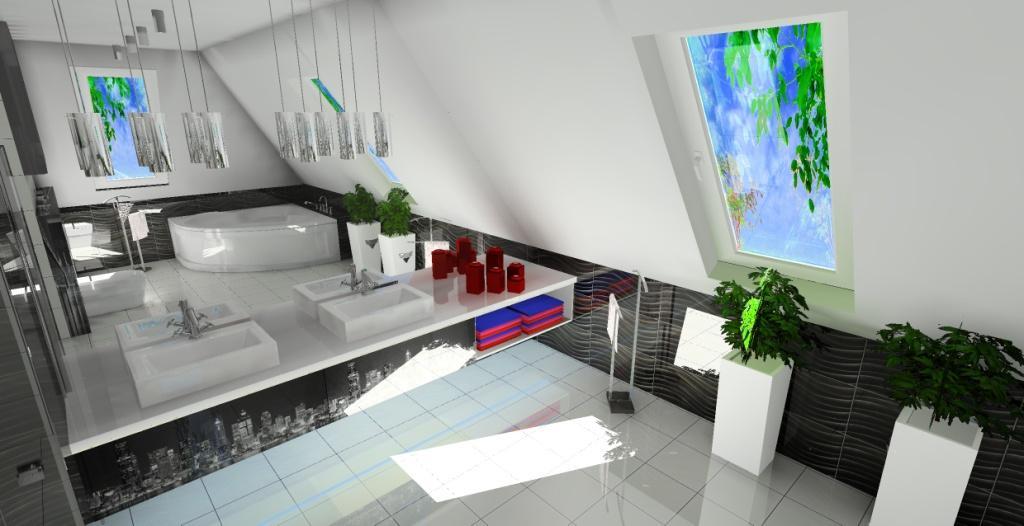 luksusowa łazienka na poddaszu, wanna narożna w łazience