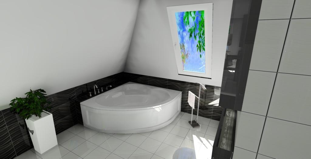 projekt luksusowej łazienki na poddaszu, łazienka na poddaszu czarno biała