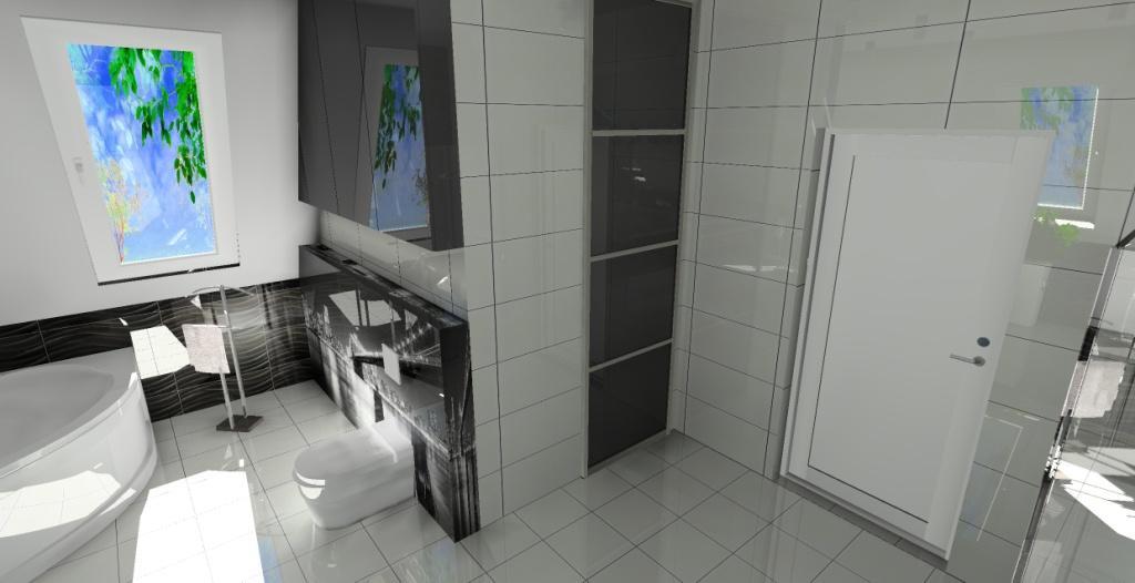 aranżacja luksusowej czarno białej łazienki na poddaszu