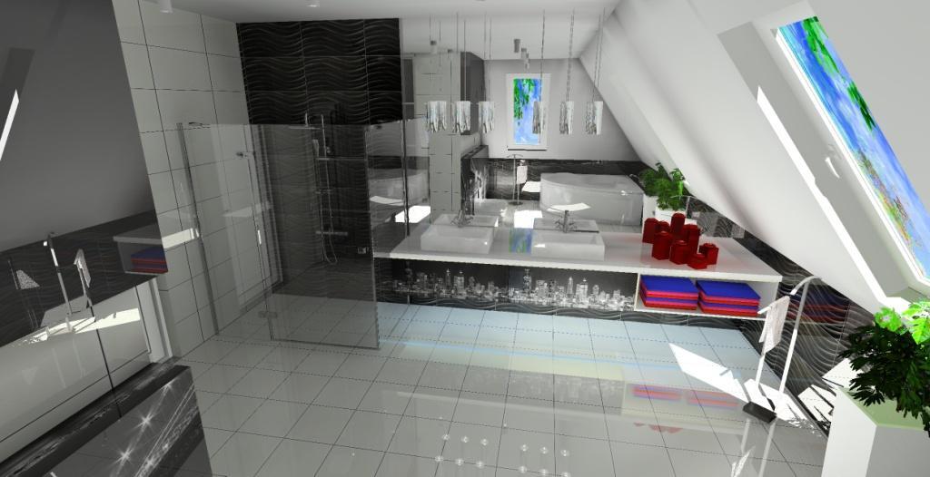 Duża liuksusowa łazienka na poddaszu, prysznic, wanna narożna, projektowanie łazienki