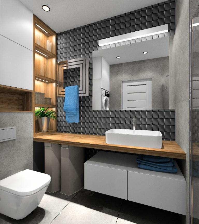 Łazienka z płytkami 3D na ścianie z umywalką