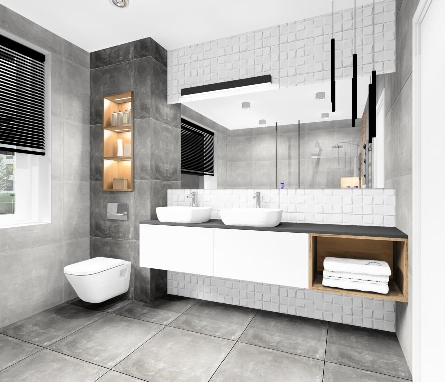 Łazienka z białymi płytkami 3d