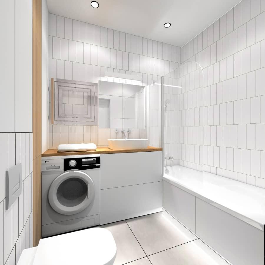 Mała łazienka w jasnych płytkach, płytki na ścianie białe, płytki na podłodze szare, drewno na ścianie