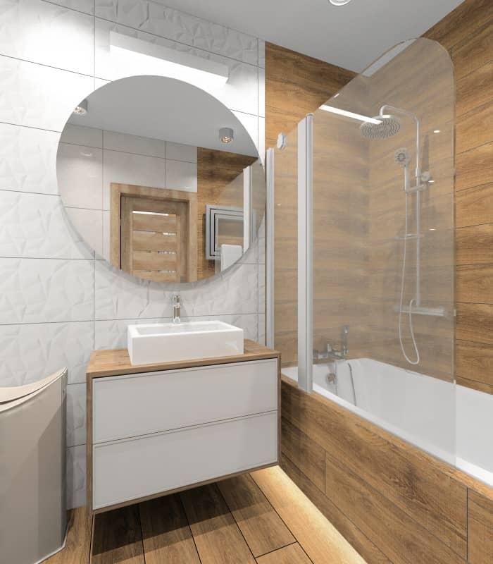 W jaki sposób optycznie powiększyć małą łazienkę ?, jasne białe płytki, płytki 3D w połysku