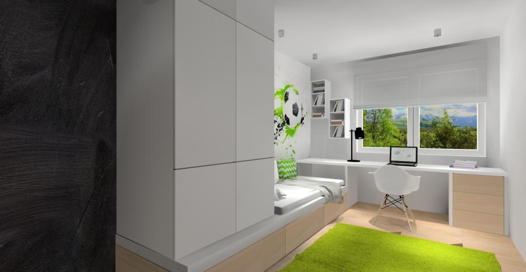 Projekt pokoju dla dziecka, pokój dziecka dla chłopca, tapeta z piłką na ścianie
