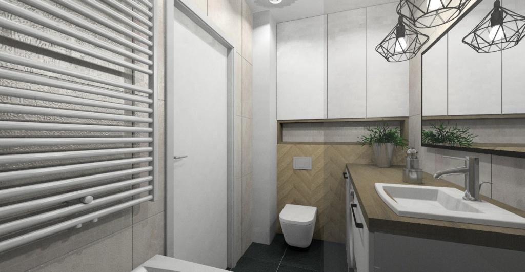 Projekt łazienki, aranżacja w stylu indriustalnym, kolory biały, szary, drewno, nowoczesne wnętrze
