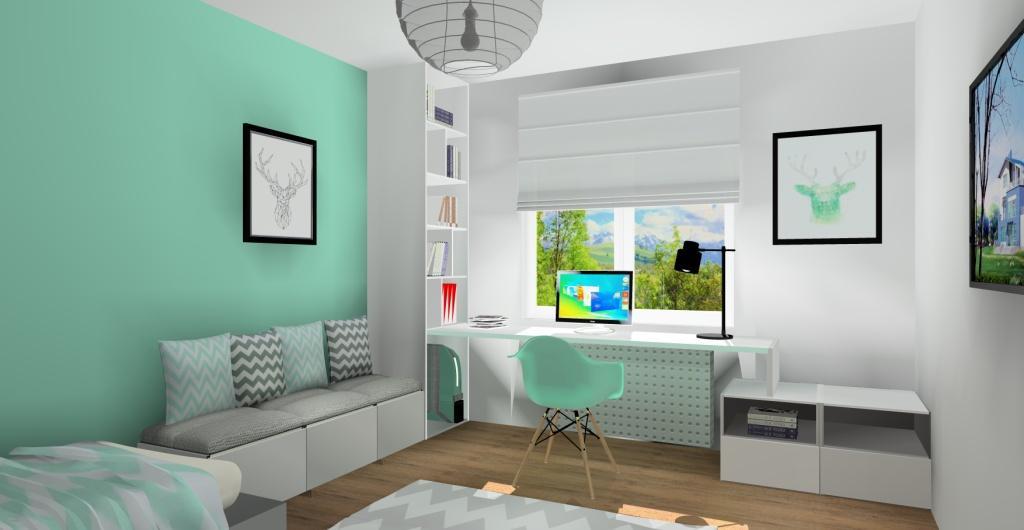 projekt pokoju dla nastolatki, biurko pod oknem, pokój biały, mięta, szary