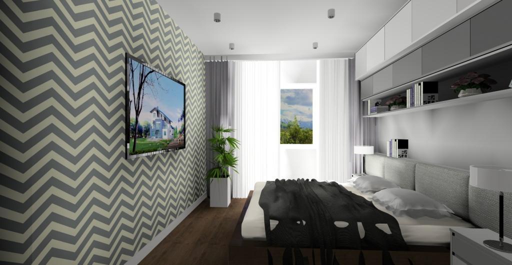 sypialnia, nowoczesna sypialnia, biały, szary, tapeta zygzaki, projekty sypilani