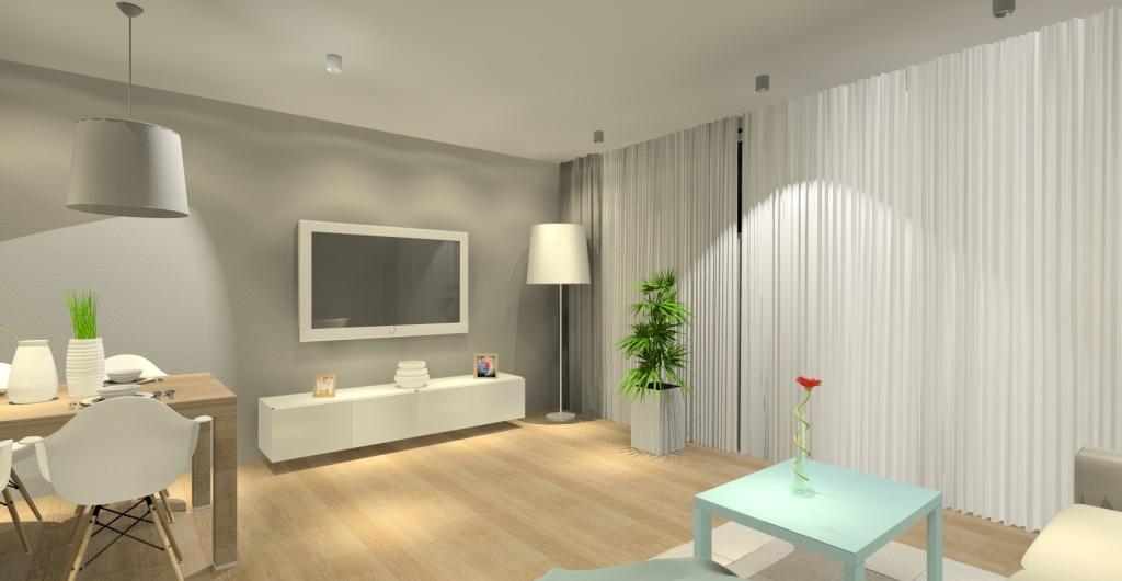 aranżacja salonu, salon w ciepłych kolorach, projekt salonu, biały, beż, drewno