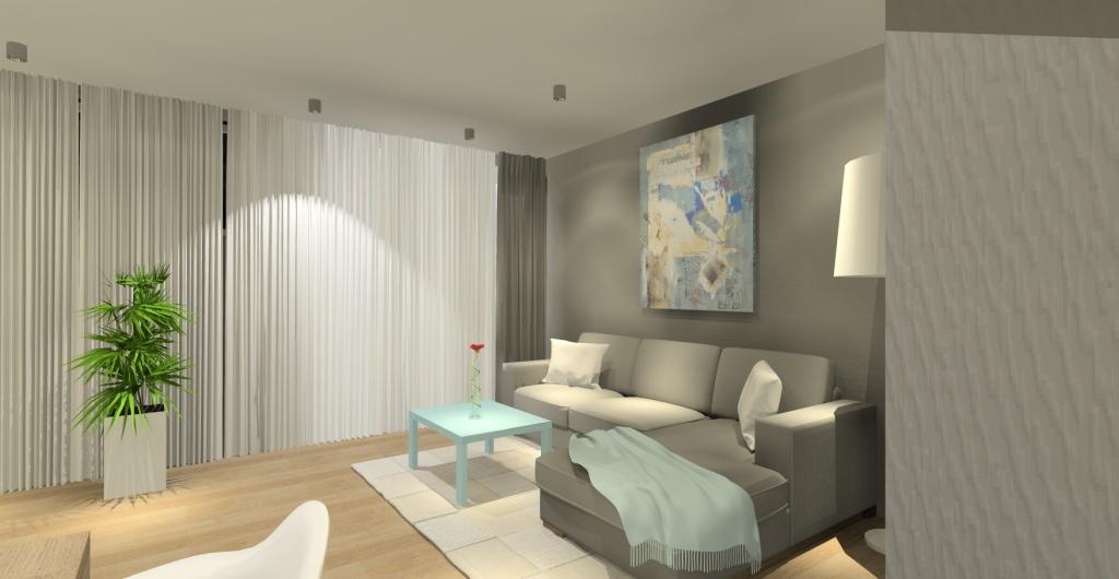 Projekt salonu w kolorach pastelowych, biały, beż, mietowy
