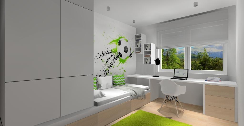 Mieszkanie, projekt pokoju dla dziecka w stylu skandynawskim, zdjęcie na biurko, łózko, szafę, tapetę z piłką nożną