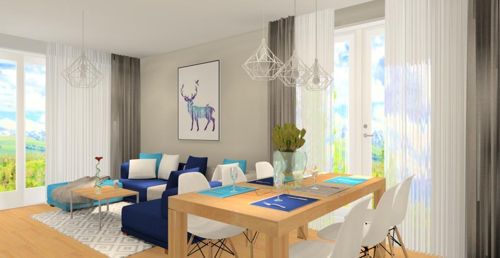 Mieszkanie w stylu skandynawskim, wnętrze salonu, projekt aranżacyjny salonu w kolorze biały, szarym, drewno, granatowy, turkus, zdjęcie na sofę i stół w jadalni