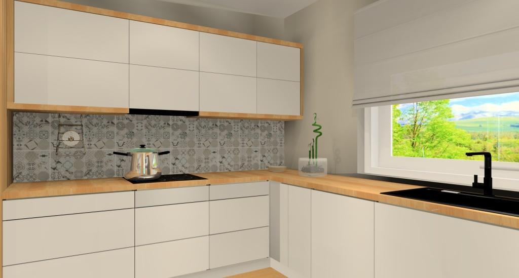 Projekt salonu z kuchnią, nowoczesna aranżacja kuchni z salonem