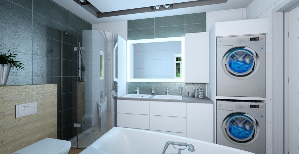 Aranżacja łazienki, łazienka z prysznicem i wanną, łazienka w kolorze biały szary drewno