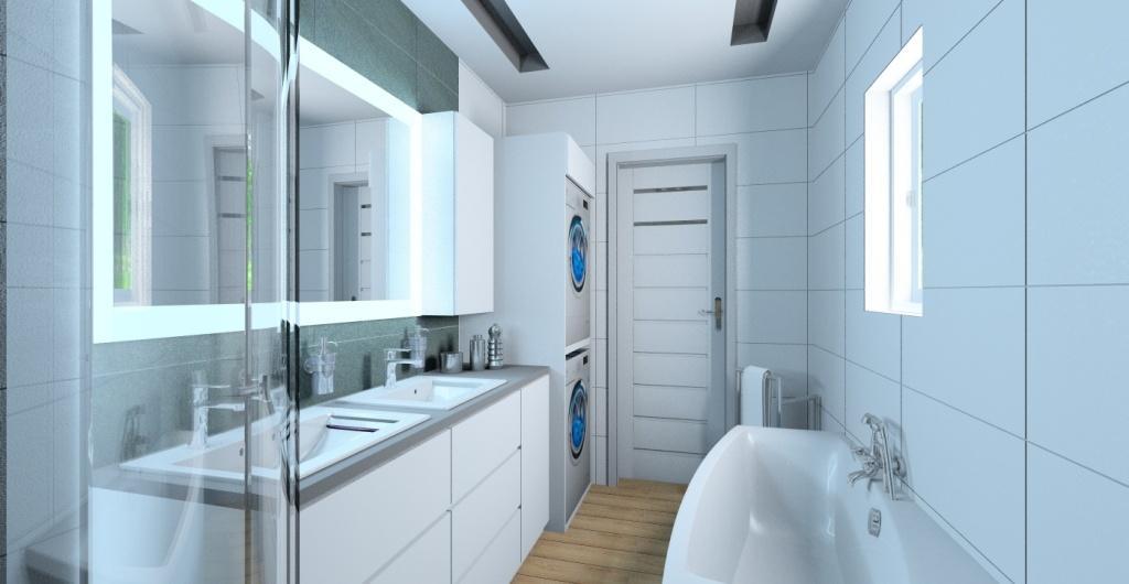 Aranżacja łazienki nowoczesnej z wanna i prysznicem, widok na zabudowę pralki, suszarki