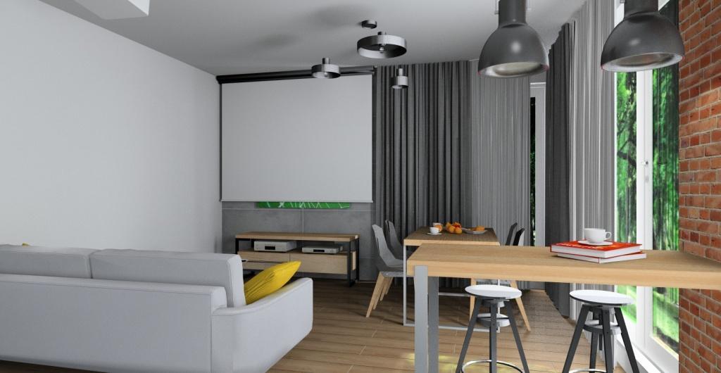 Projektowanie wnętrz, salon z kuchnią i przedpokój, styl indriustalny, widok na jadalnie z czerwoną cegłą i biała kuchnię z drewnem