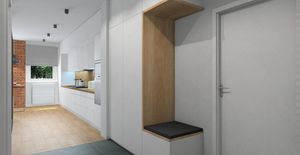 Projektowanie wnętrz, przedpokój, widok na przedpokój oraz kuchnia, szafa biała z drewnem, cegła na ścianie