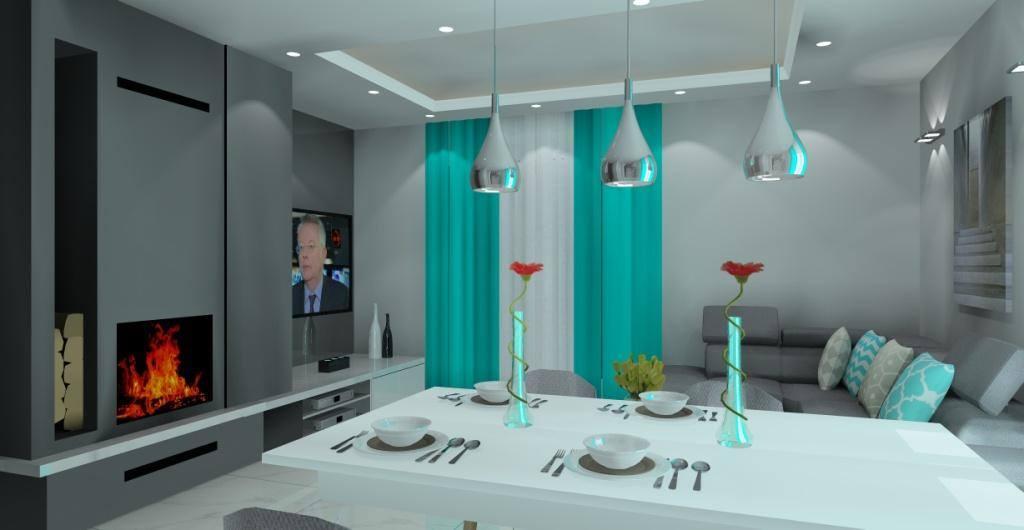 Projekty salonu z kuchnia nowoczesne wnetrze, projektowanie wnętrz online