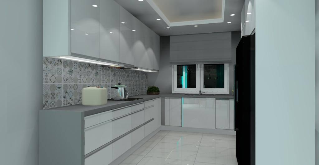 Salon z kuchnią, nowoczesny salon z kuchnią, biały, szary, turkus