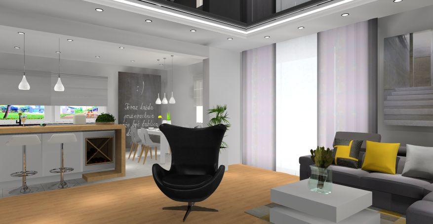 Salon z kuchnią, biały, szary, drewno, czarny