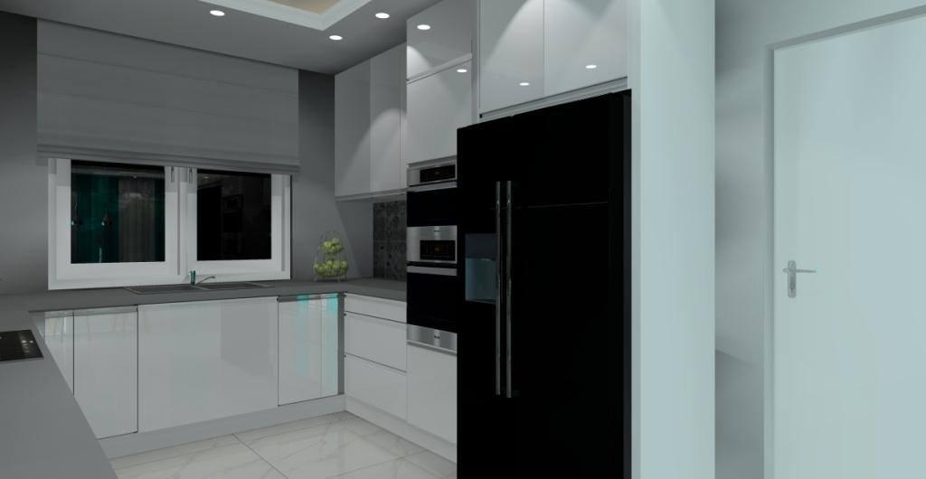 Projekt salonu z kuchnią, nowoczesny styl, biały, szary, czarny