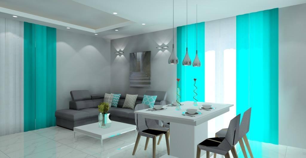 salon z kuchą, projekt salonu z kuchnią, jadalnia, szary, biały, turkus