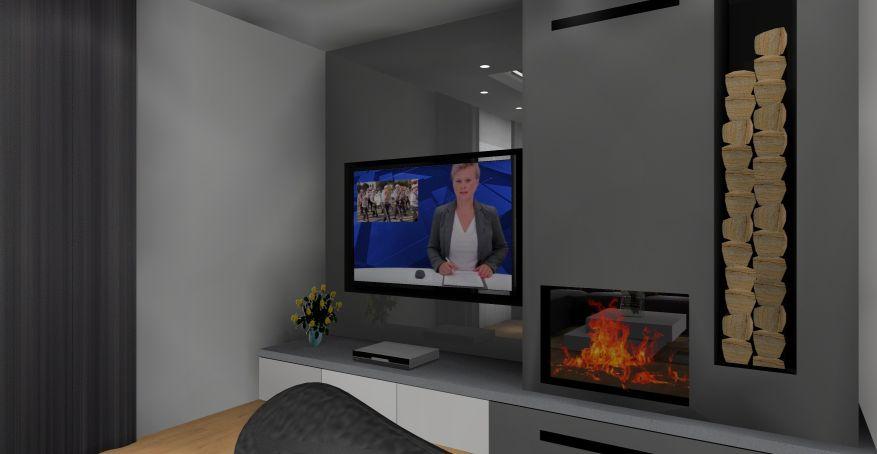 Salon z kuchnią, nowoczesny salon z kuchnią, aranżacja ściany telewizyjnej z kominkiem