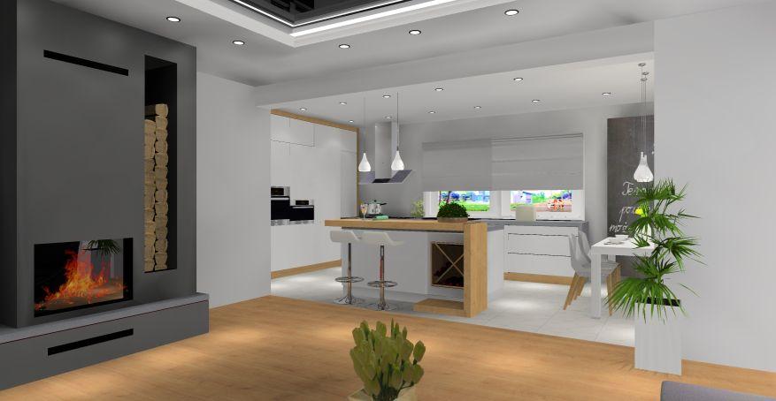 Salon z kuchnią w stylu nowoczesnym, wyspa w kuchni, biały, drewno, szary