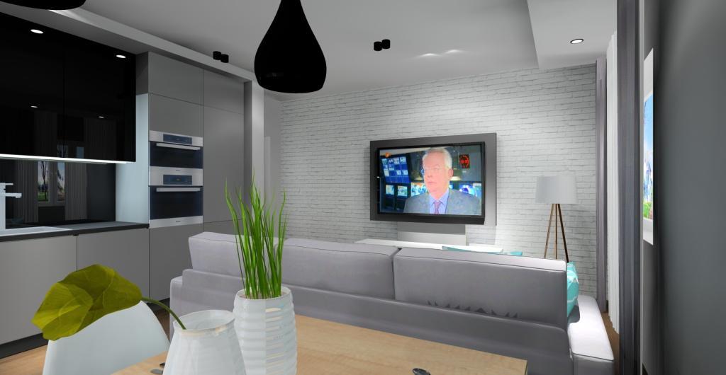 projekty saloonu z aneksem kuchennym, biała cegła na ścianie