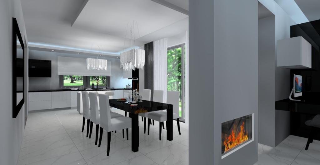 Aranżacja salonu z kuchnia i jadalnią – pomysły, projekty wnętrz, widok na lustro czarne, stół czarny, krzesła w połysku w jadalni, kominek w salonie, kuchnie białą, czarną z wyspą, sufit podwieszanyw kuchni