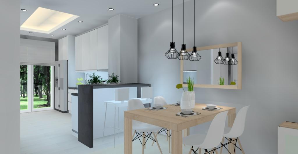 Projekty Wnętrz Projekt Salonu Z Kuchnią