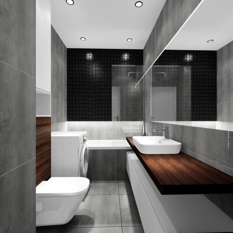 Pomysł na nowocześnie urządzone mieszkanie, łazienka, płytki szare i drewnopodobne