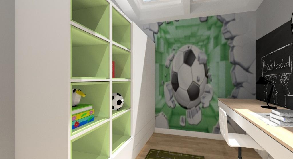 Kolory i dodatki w pokoju młodzieżowym, tapeta z motywem piłkarskim, zielona, biała szafa, dywan zielony boisko