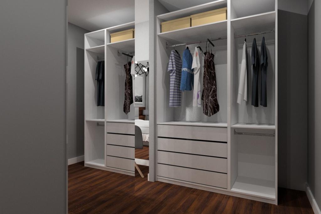 Pomysł na nowocześnie urządzone mieszkanie, garderoba, dużo szuflad