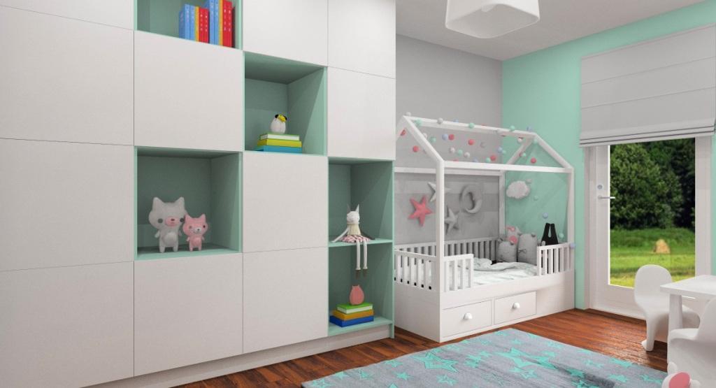 Pomysł na nowocześnie urządzone mieszkanie , pokój dla dziecka dziewczynki, w koloreze miętowy, biały, szary